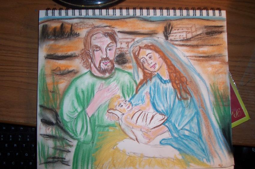 Saint Joseph, Virgin Mary, Jesus Christ by cindykron